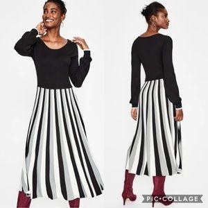 Boden Margie Dress Black White Gray Sripe Maxi